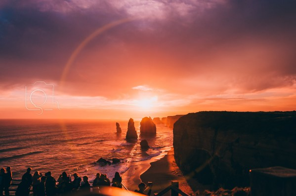 Silhouetted Twelve Apostles in Port Campbell, Victoria, Australia