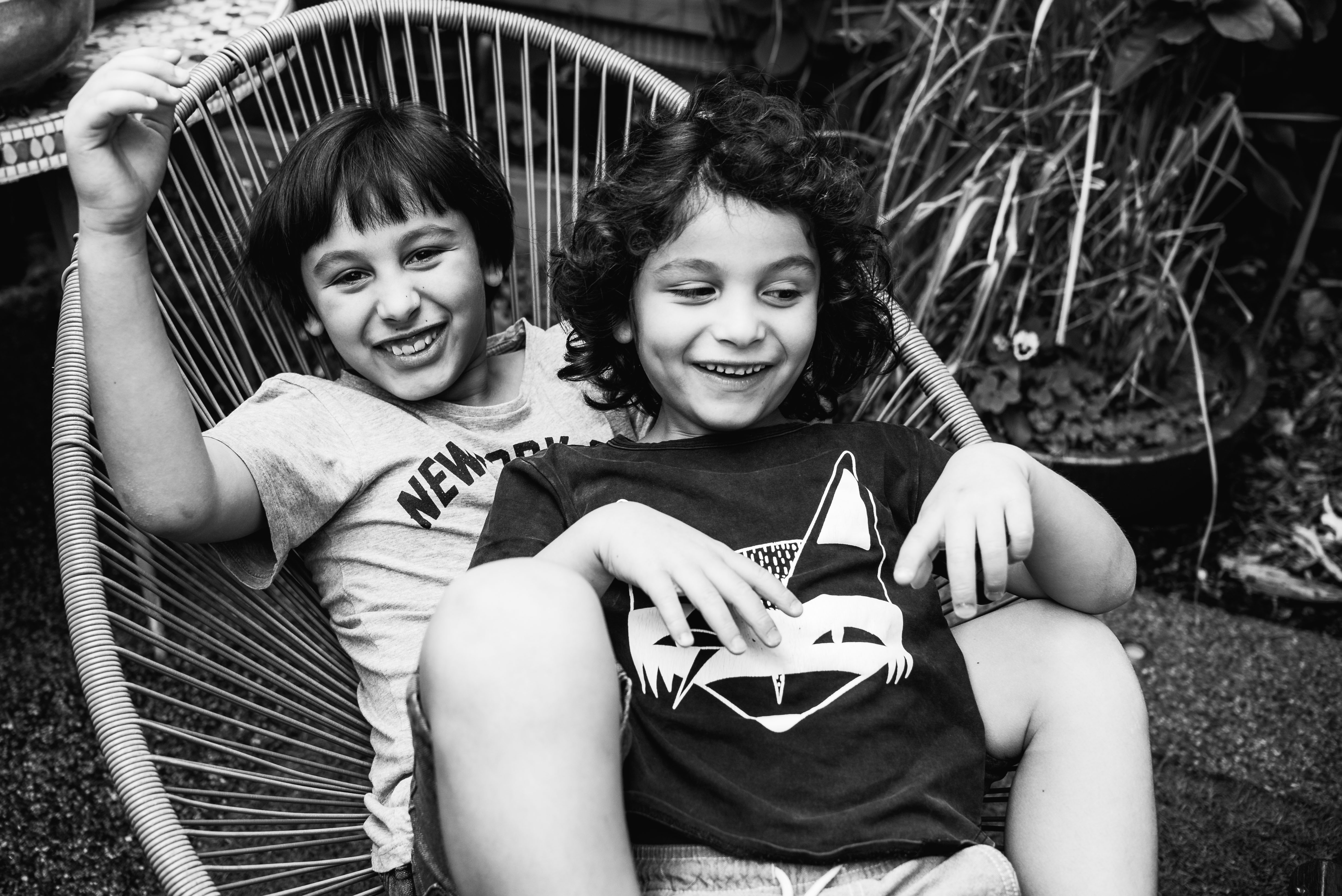photograph of brothers smiling in Carlton North, Melbourne, Australia